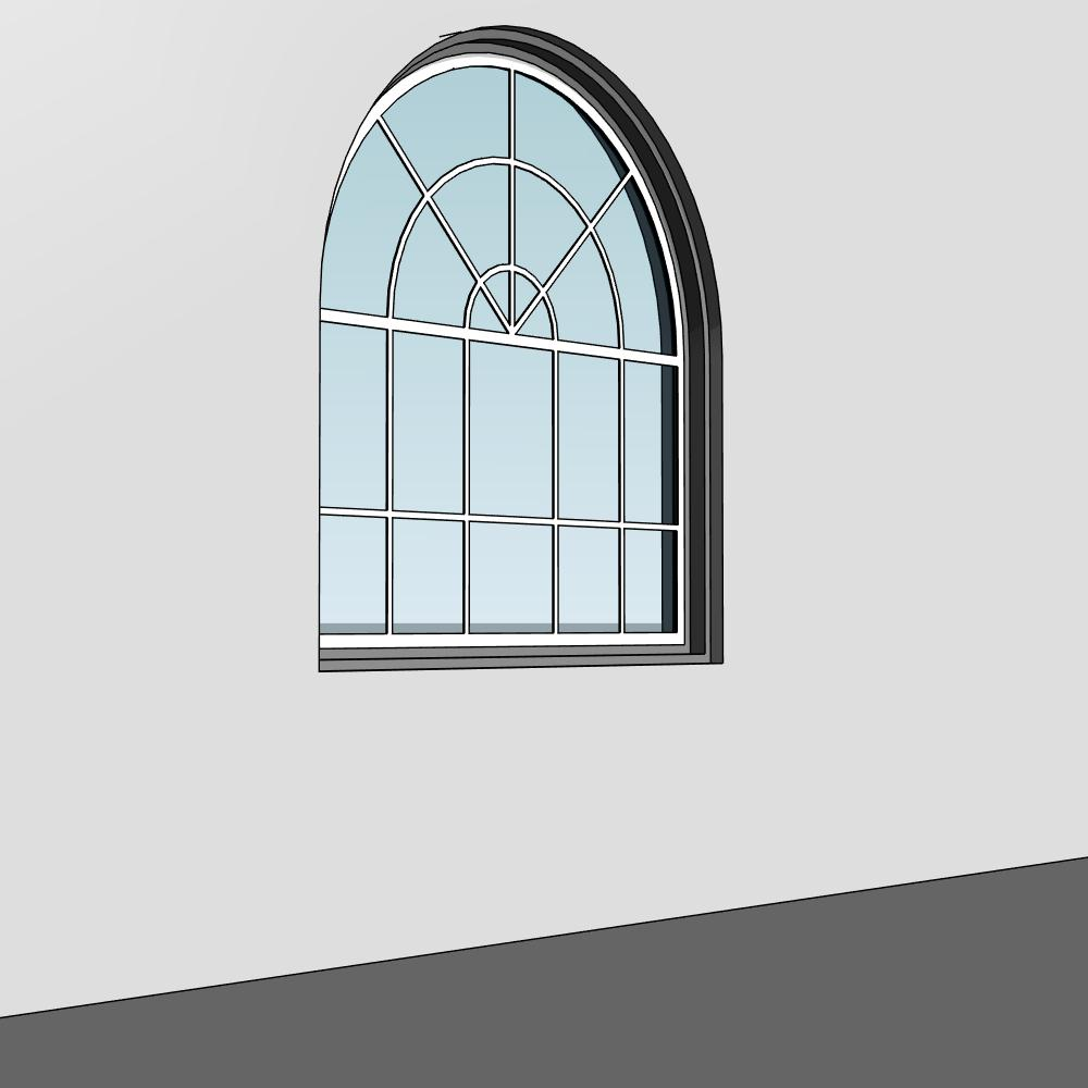 Arched window with sunray transum for 1800x1200 window